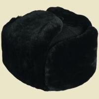 Шапка-ушанка чёрная натуральный мех облагороженная