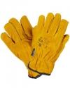 Краги спилковые пятипалые утепленные жёлтые