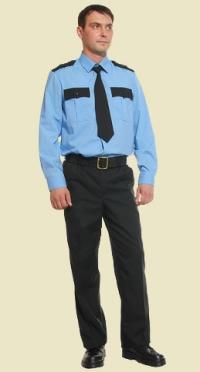 Рубашка охранника голубая длинный рукав