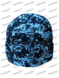 Шапка синяя цифра с отворотом 2-нитка